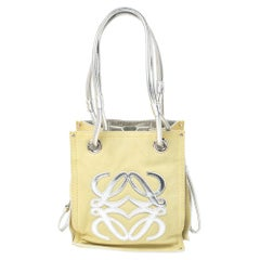 Loewe Silver/Yellow Leather and Suede Drawstring Bag
