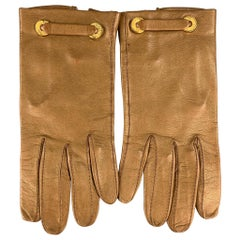 LOEWE Size 7 Tan Leather Gold Button Gloves