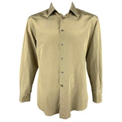 LOEWE Size L Olive Shimmery Silk / Polyester Button Up Long Sleeve Shirt