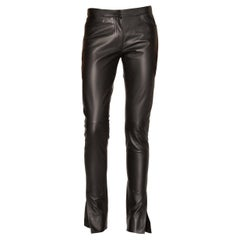 Loewe Slit Cuff Leather Trousers in Black SIZE 36