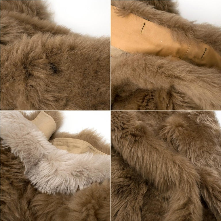 Loewe Toffee Lamb Shearling Double Collar Coat S/M For Sale 5