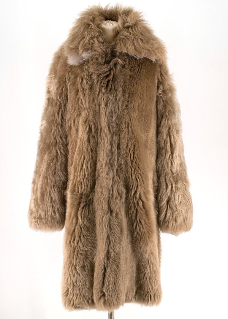 Brown Loewe Toffee Lamb Shearling Double Collar Coat S/M For Sale