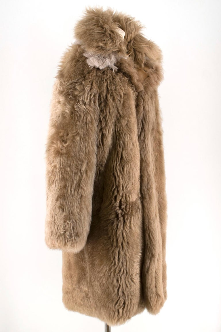 Loewe Toffee Lamb Shearling Double Collar Coat S/M In Excellent Condition For Sale In London, GB