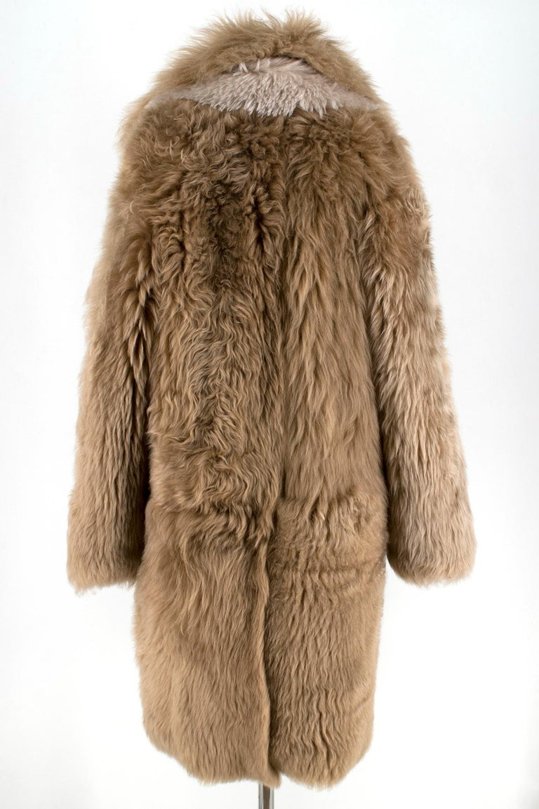 Women's Loewe Toffee Lamb Shearling Double Collar Coat S/M For Sale