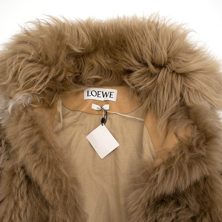 Loewe Toffee Lamb Shearling Double Collar Coat S/M For Sale 3