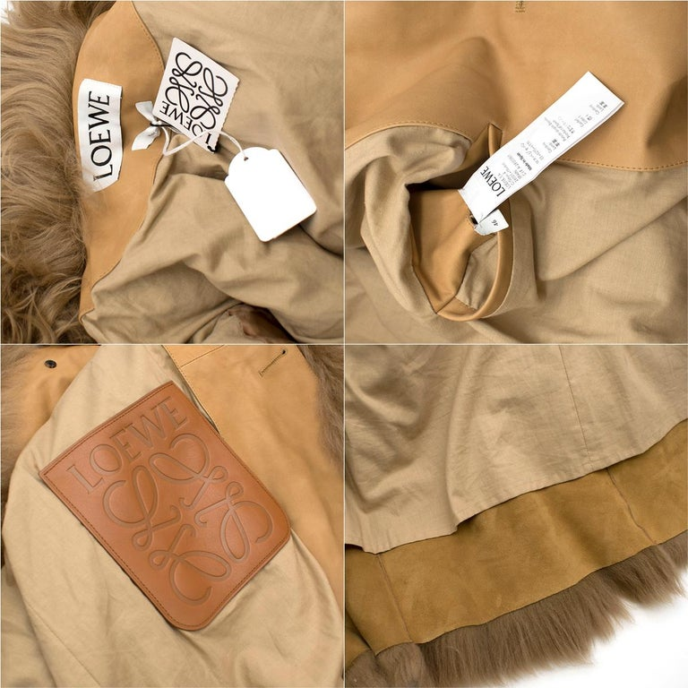 Loewe Toffee Lamb Shearling Double Collar Coat S/M For Sale 4