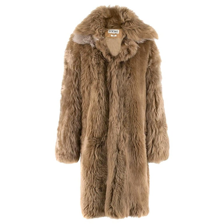 Loewe Toffee Lamb Shearling Double Collar Coat S/M For Sale