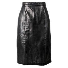 Loewe Vintage 1980s Black Leather Skirt