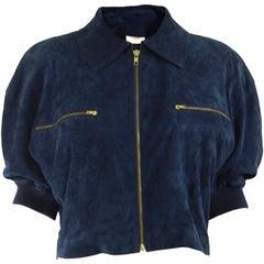Loewe Vintage Blue Goat Leather Suede & Merino Wool Cropped Short Sleeve Jacket
