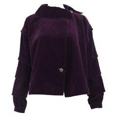 Loewe Vintage Dark Purple Velvet Boxy Tiered Sleeve Jacket, 1980s