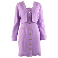 Loewe Vintage Lavender Linen Boned Dress & Raglan Sleeve Bolero Jacket Suit