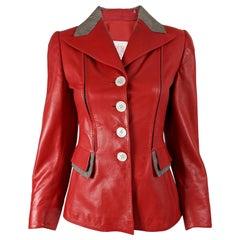 Loewe Vintage Red Leather Womens Jacket