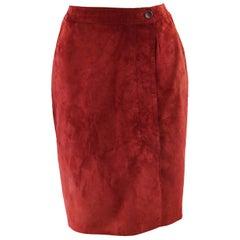 Loewe Vintage Red Suede Skirt