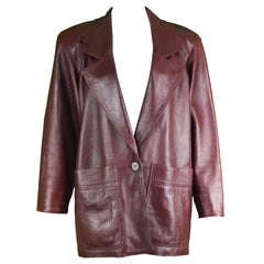 Loewe Vintage Womens 'Bordeaux Wine' Shoulder Padded Leather Jacket, 1980s