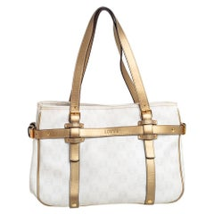 Loewe White/Gold Anagram Canvas and Leather Tote