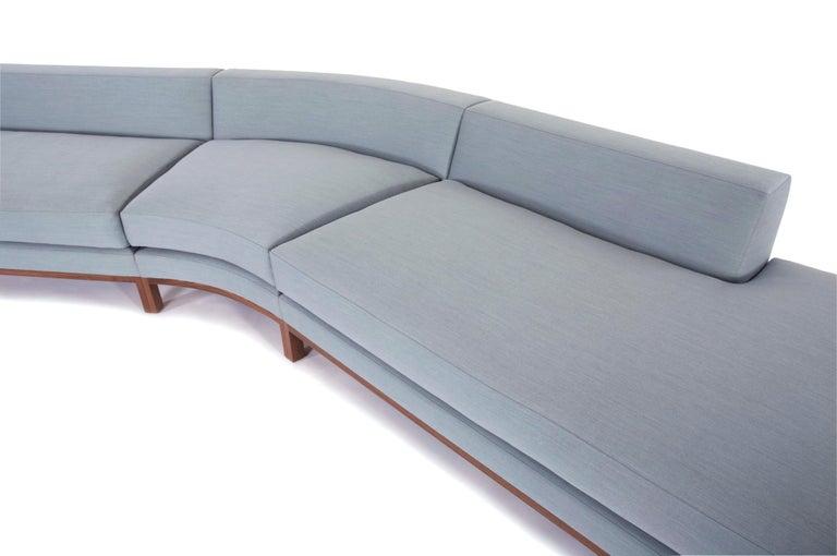 American Loft Sofa curved sofa loose seat cushions sofa walnut legs curved shape      For Sale
