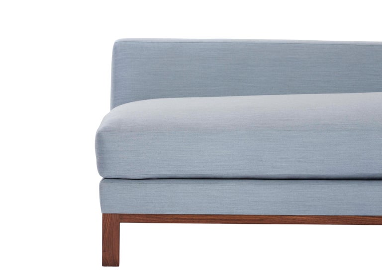 Loft Sofa curved sofa loose seat cushions sofa walnut legs curved shape      In New Condition For Sale In Brooklyn, NY