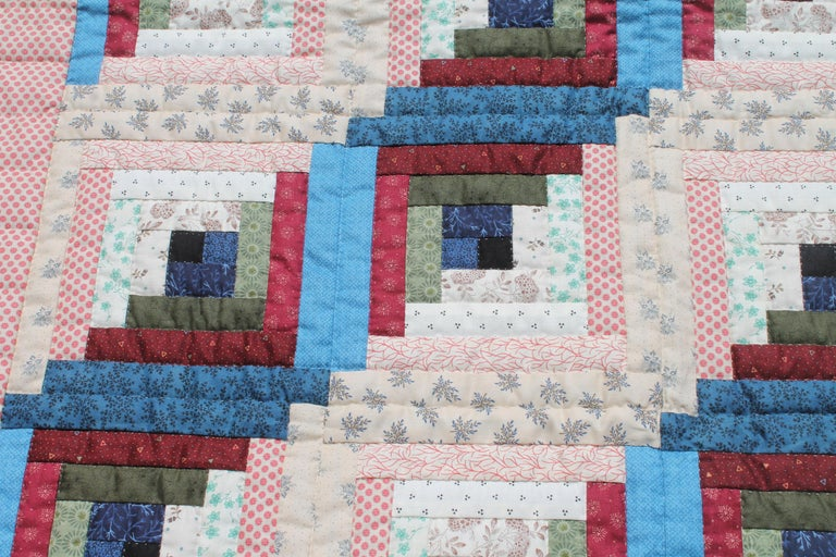 Country Log Cabin Crib Quilt from Pennsylvania For Sale