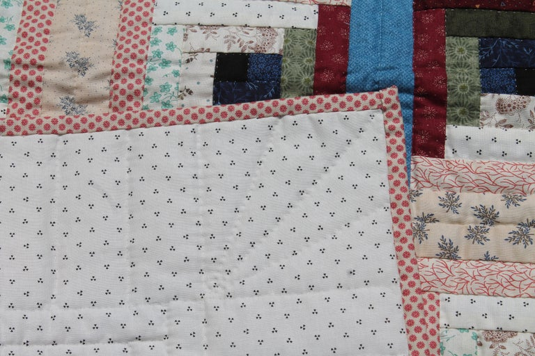 20th Century Log Cabin Crib Quilt from Pennsylvania For Sale