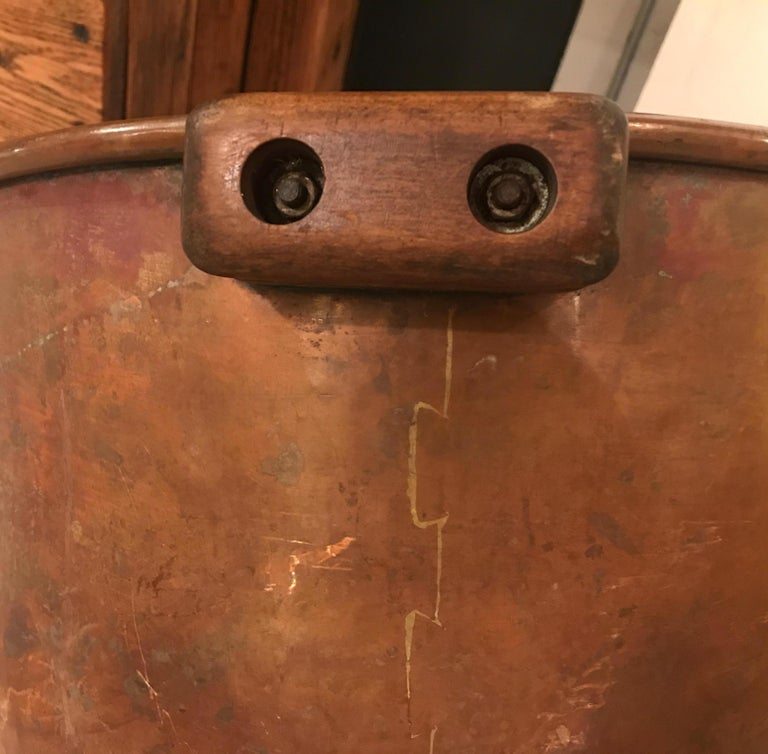 Copper Log Holder or Jardinière Planter Originally a Candy Cauldron For Sale