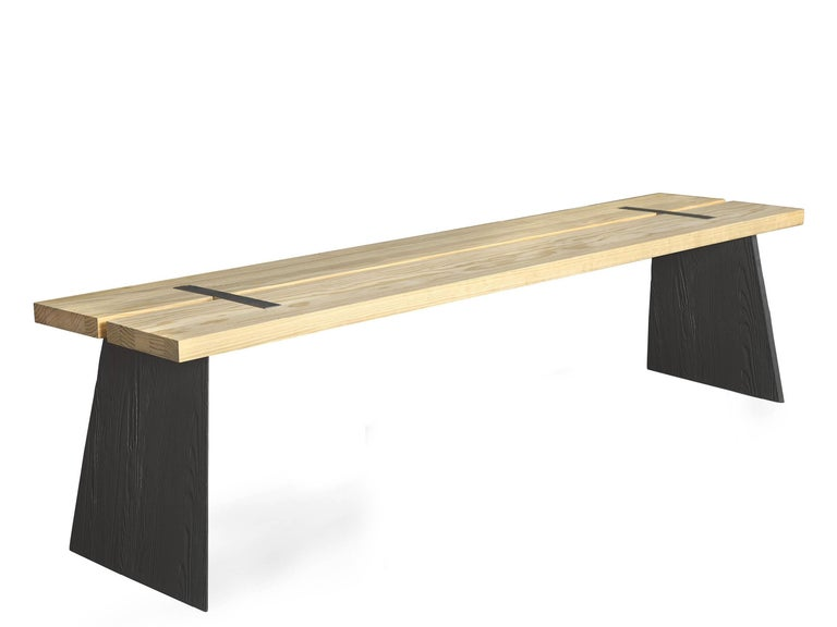 Table top and seat in Northern pine or Accoya. Base in cast iron. For indoor and outdoor use Price is for Northern pine. Accoya : + € 1300. Other woods and sizes offered on demand   Measures: H 42 W 120 D 30 cm. On demand: H 42 W 140 D 30 cm.