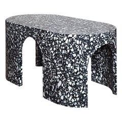 Loggia Large Oval Side Table or Black Terrazzo Marble by Portego