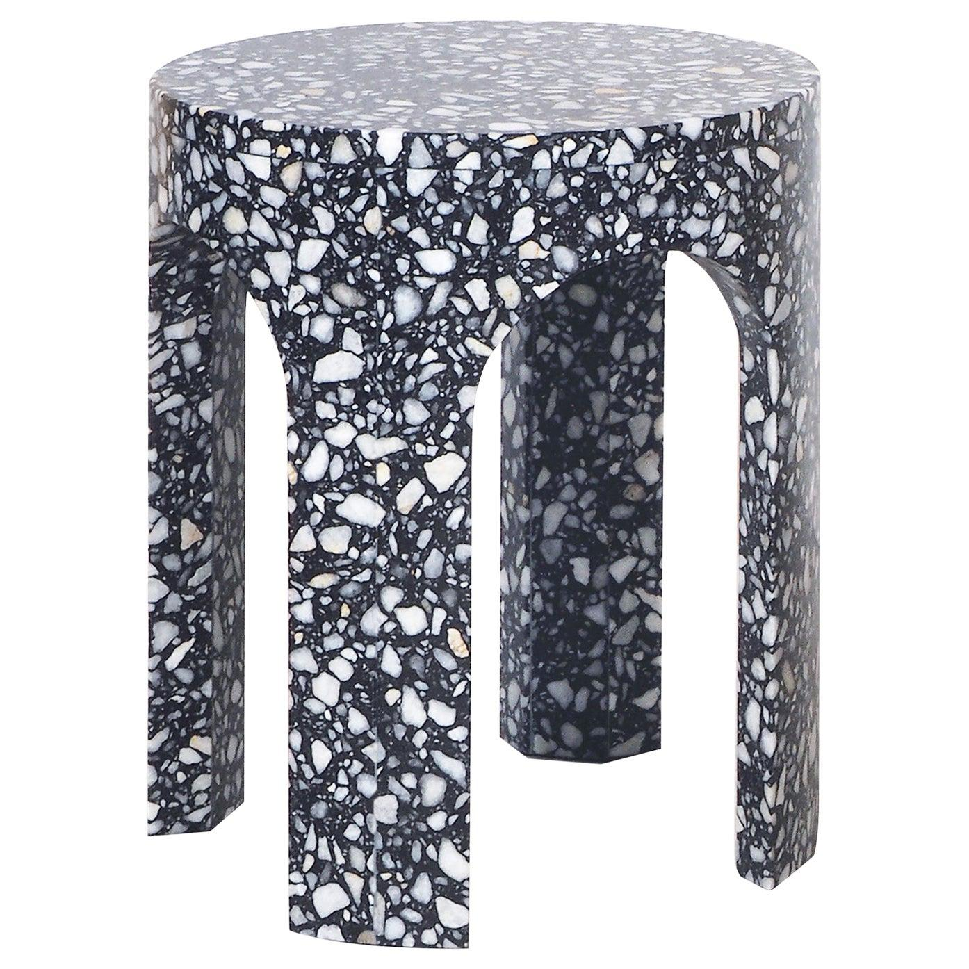 Loggia Small Side Table or Black Terrazzo Marble by Portego