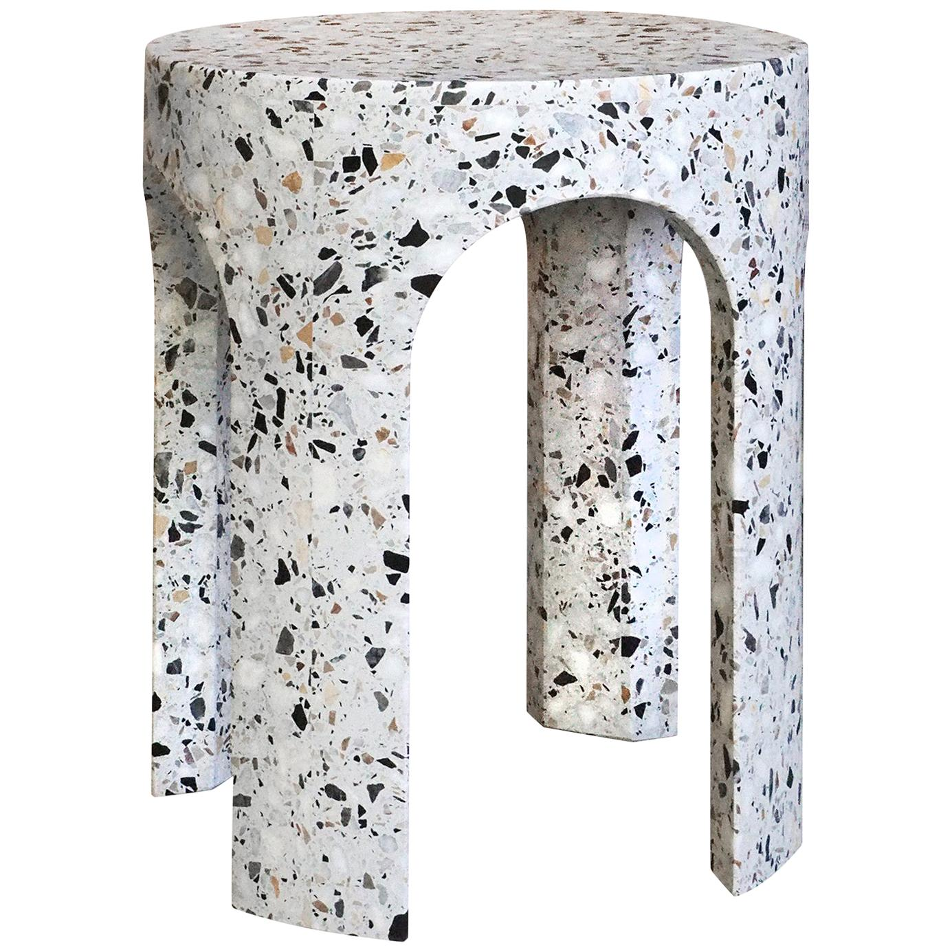 Loggia Small Side Table / White Terrazzo Marble by Portego