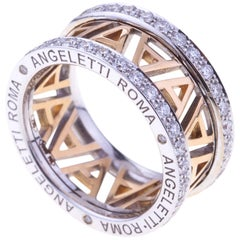Logo Rose Gold Ring Small Size with Diamonds