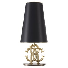Logo Table Lamp in Brass by Roberto Cavalli Home Interiors