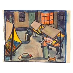 """Loïs Hutton """"Jour de marché"""" Gouache on Paper, Dated on the Reverse"""