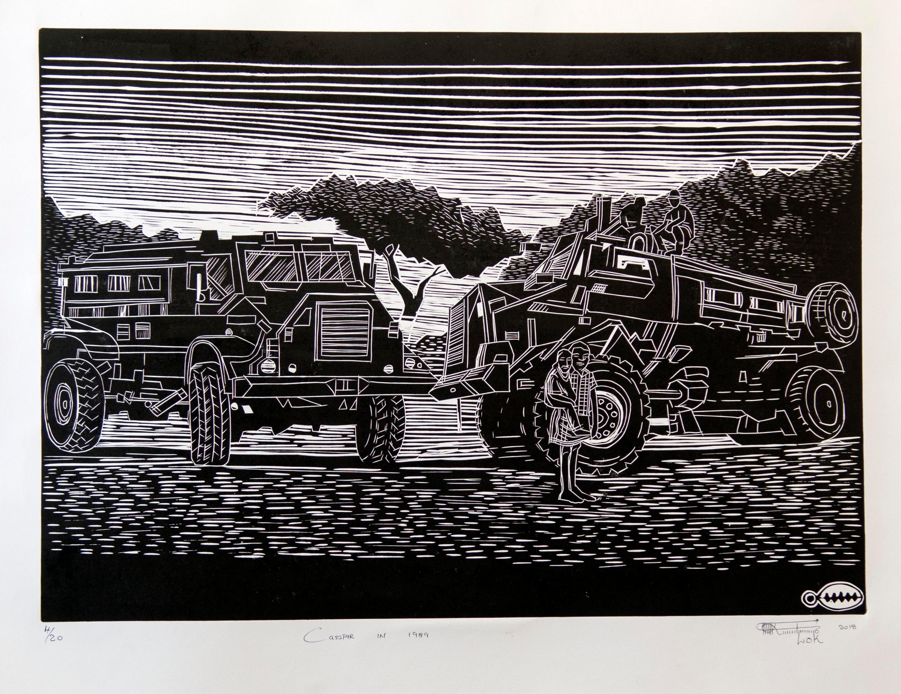 Casspir in 1989 (2018), Linoleum Block Print on Paper, 4/20, black and white