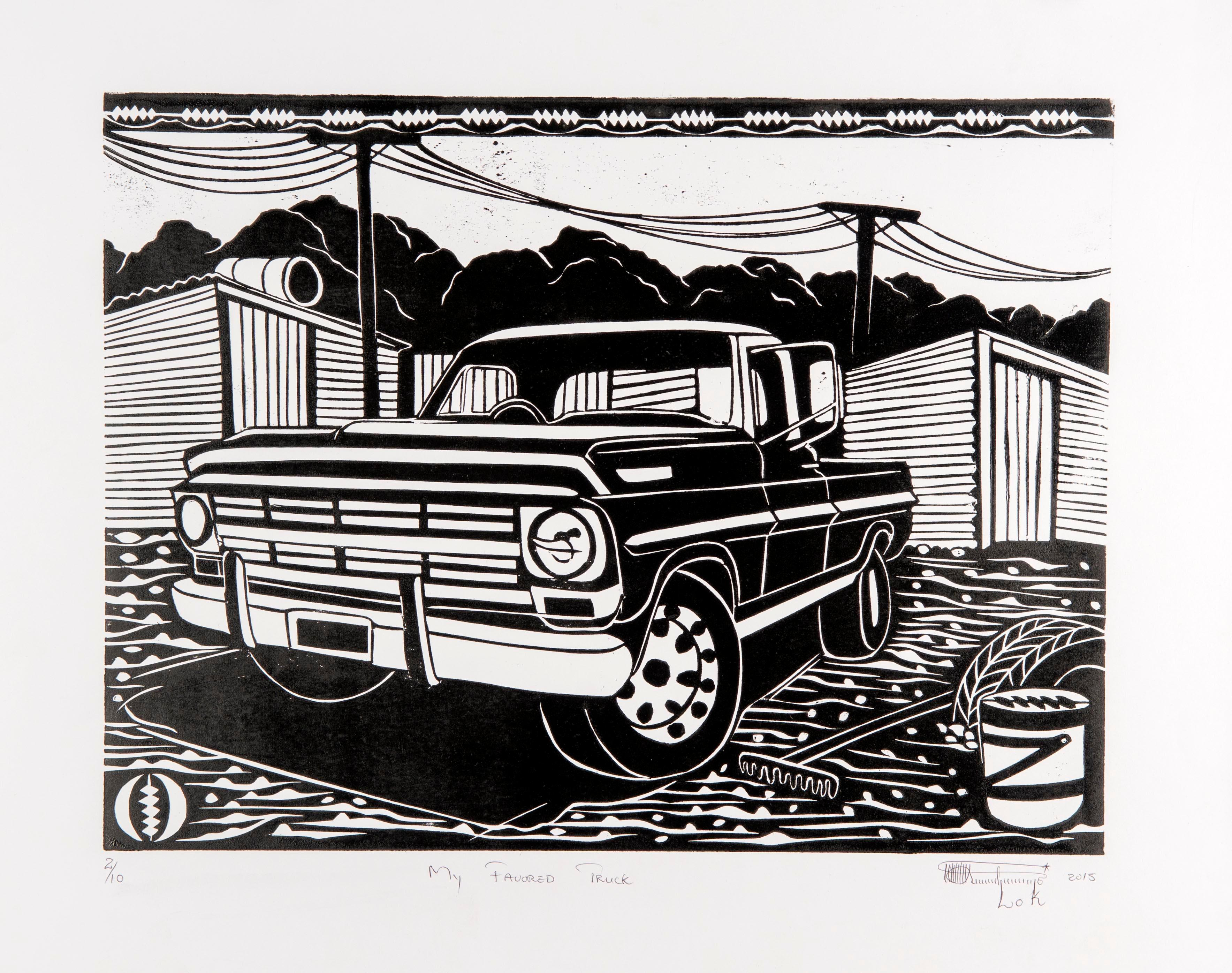 My Favored Truck. Linoleum Block Print on Paper. 2/10