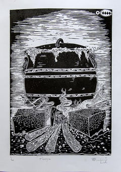 Poitjie, Lok Kandjengo, Linoleum Block Print on Paper