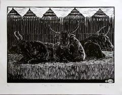The Big Three. Linoleum Block Print on Paper, 1/20