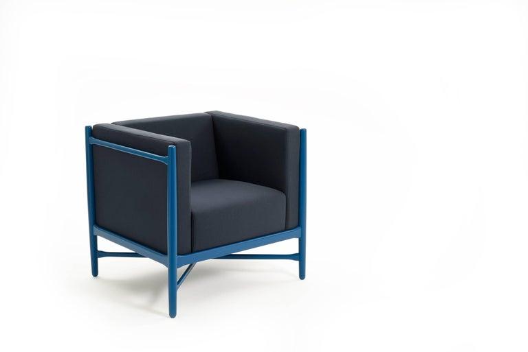 Italian Loka Armchair Beech, Comfortable Design Upholstery Modern Style For Sale
