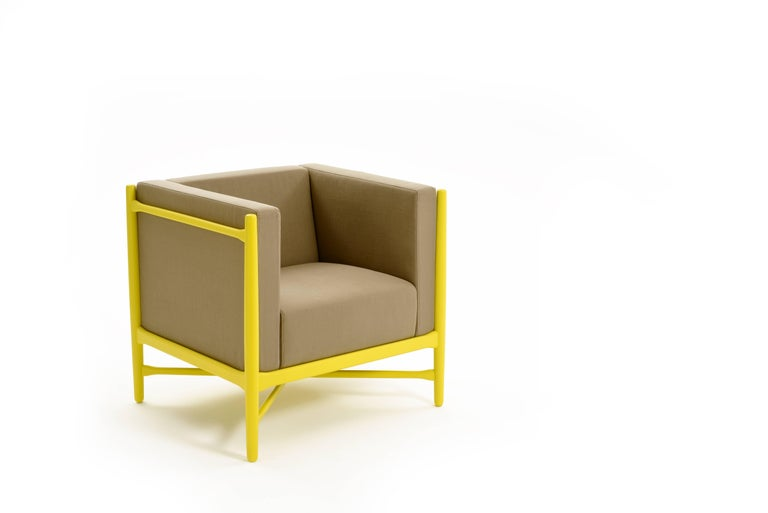Painted Loka Armchair Beech, Comfortable Design Upholstery Modern Style For Sale
