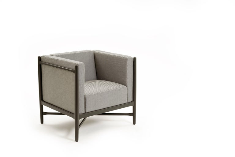 Loka Armchair Beech, Comfortable Design Upholstery Modern Style In New Condition For Sale In Milan, Lombardy