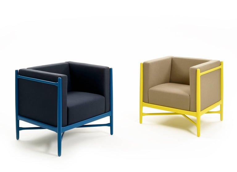 Contemporary Loka Armchair Beech, Comfortable Design Upholstery Modern Style For Sale
