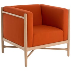 Loka Armchair Beech structure, Orange Wool Upholstered Cushions