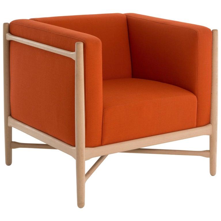 Loka Armchair Beech, Comfortable Design Upholstery Modern Style For Sale