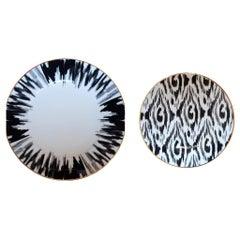 Lokoum Set of 2 Porcelain Plates BW