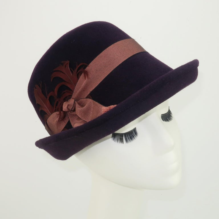 Black Lola Aubergine Trilby Hat With Feathers C.2000 For Sale