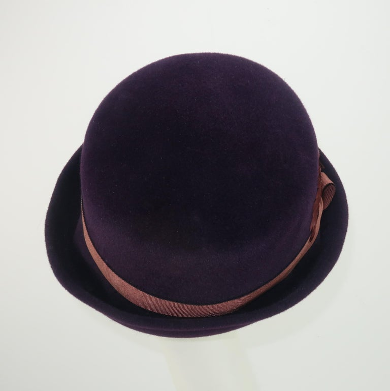 Women's Lola Aubergine Trilby Hat With Feathers C.2000 For Sale