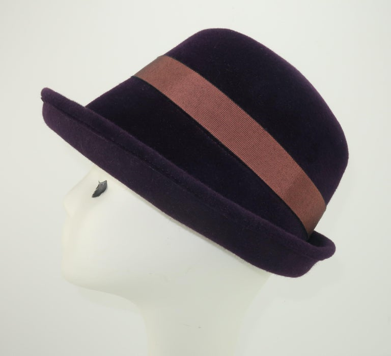 Lola Aubergine Trilby Hat With Feathers C.2000 For Sale 1