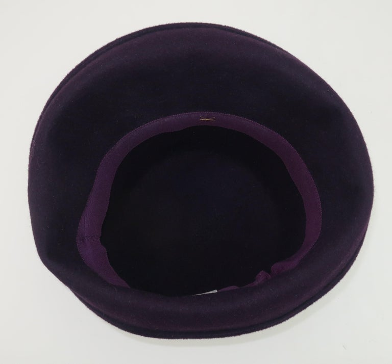 Lola Aubergine Trilby Hat With Feathers C.2000 For Sale 2