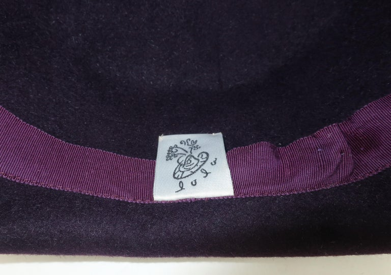 Lola Aubergine Trilby Hat With Feathers C.2000 For Sale 3