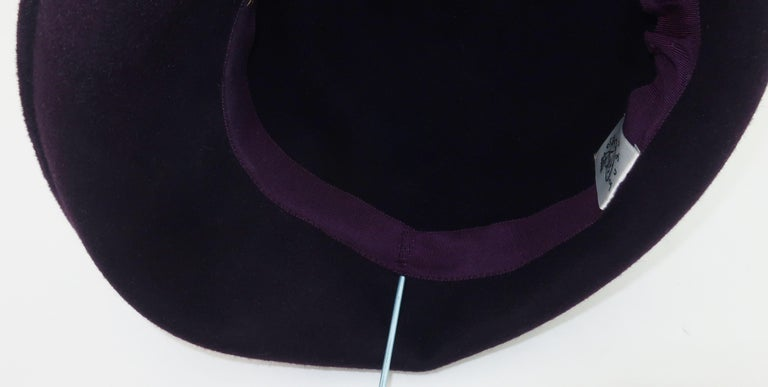 Lola Aubergine Trilby Hat With Feathers C.2000 For Sale 4