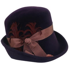 Lola Aubergine Trilby Hat With Feathers C.2000