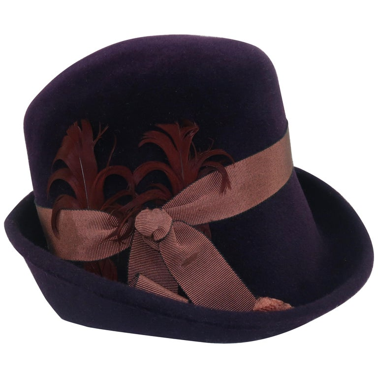 Lola Aubergine Trilby Hat With Feathers C.2000 For Sale